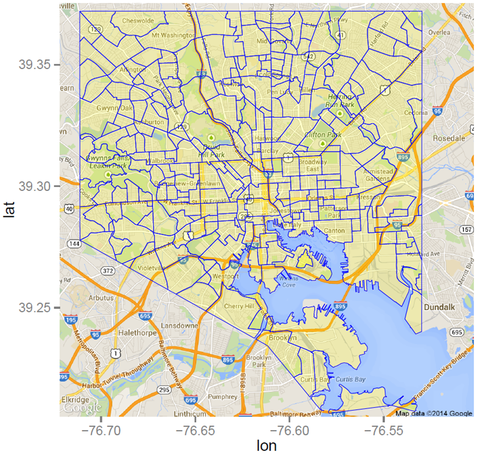 Shapefile Polygons Plotted on Google Maps Using ggmap in R Throw