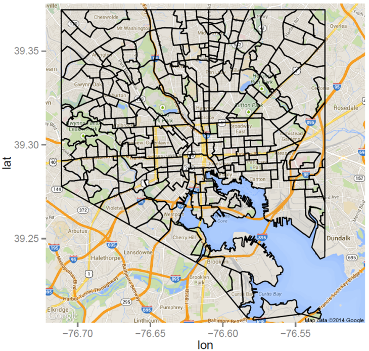 Shapefile Polygons Plotted on Google Maps Using ggmap in R – Throw