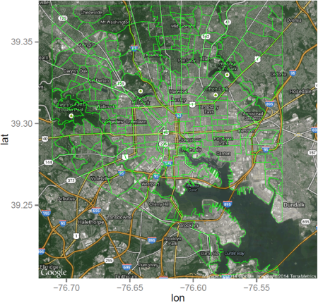 Shapefile Polygons Plotted On Google Maps Using Ggmap In R Throw - R us map polygon shapefile